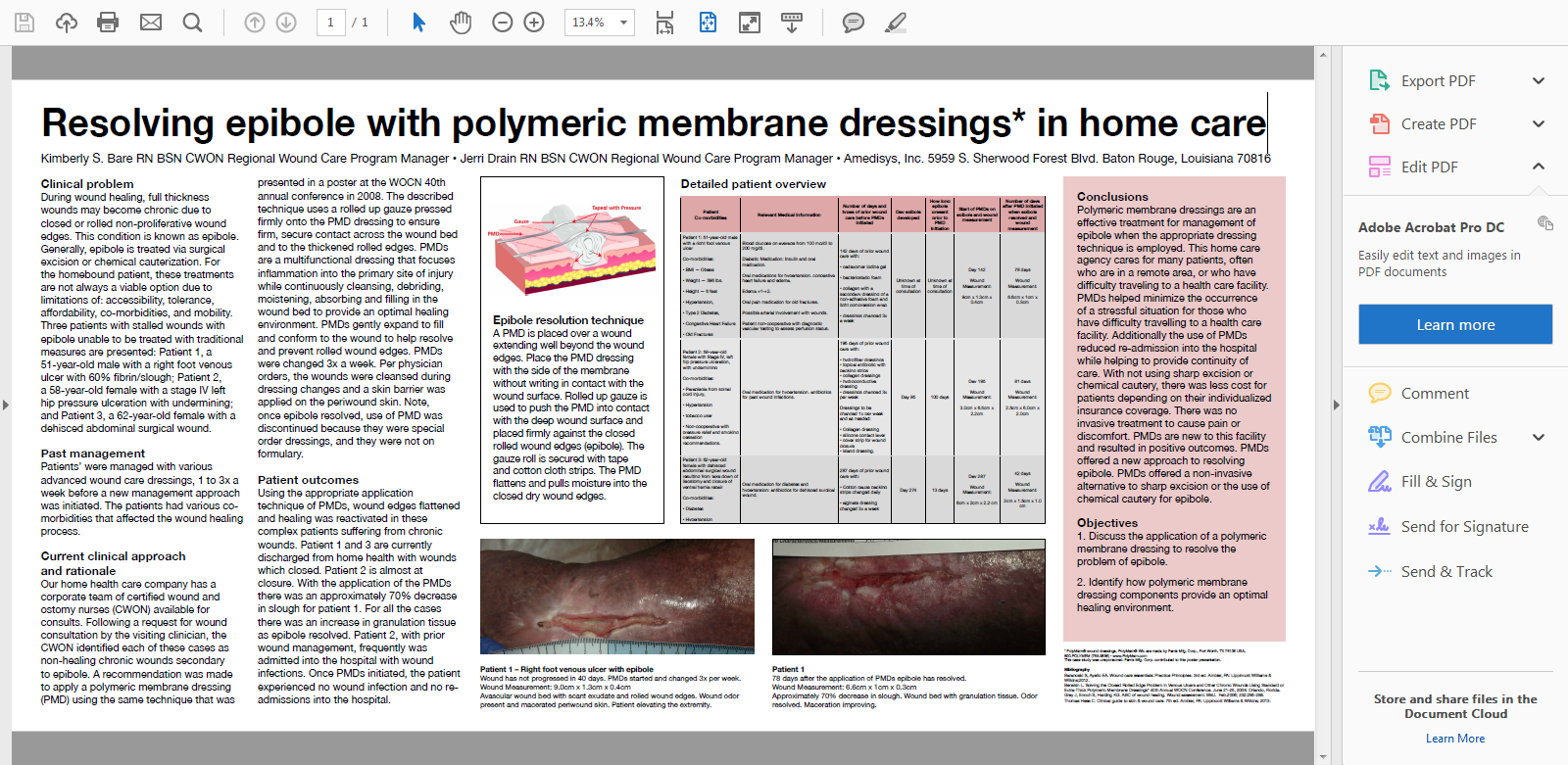 Resolving Epibole with Polymeric Membrane Dressings* in Home