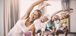 Lymphedema patients doing yoga