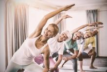 Lymphedema patients doing yoga